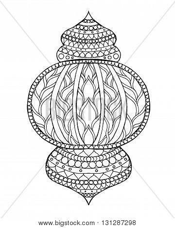 Hand drawn traditional lantern of Ramadan. Engraved vector illustration. Sketch for coloring page, decoration, greeting card, poster, print, t-shirt