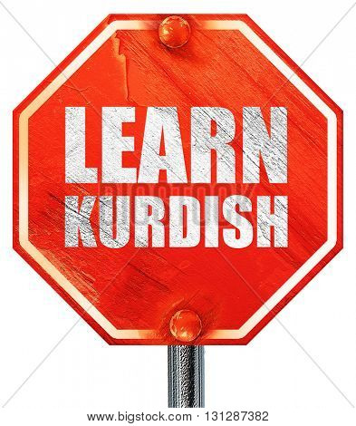 learn kurdish, 3D rendering, a red stop sign
