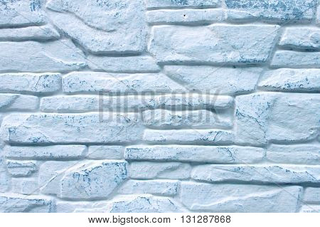 Background of Decorated Brick Wall Whitewashed with Blue Color Paint