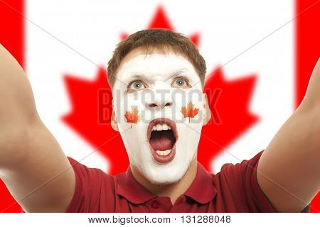 Canadian fans at the stadium. Football, soccer fan