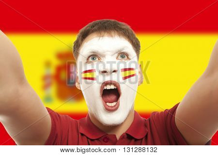 Spanish fans at the stadium. Football, soccer fan