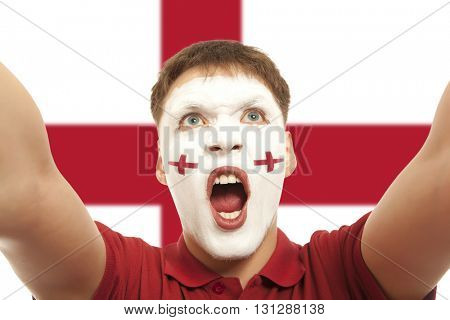 English fans at the stadium. Football, soccer fan