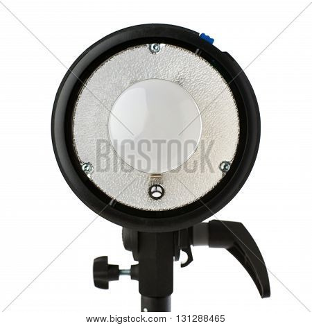 Opened Pulse studio flash on a stand over isolated white background