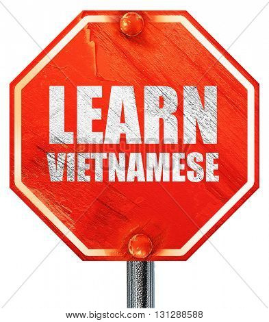 learn vietnamese, 3D rendering, a red stop sign