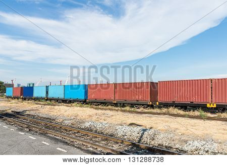 Container wagon of the freight train near the construction area.