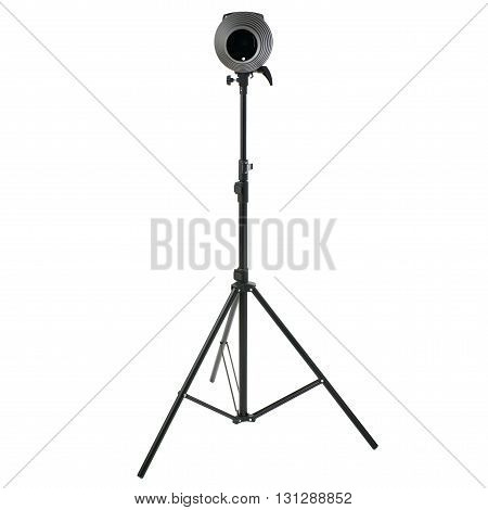 Pulse studio flash with a conical snoot on a stand over isolated white background