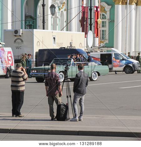 St. Petersburg, Russia - 9 May, Photographers waiting for the parade, 9 May, 2016. Festive military parade on the Palace Square in St. Petersburg.