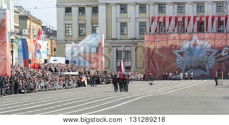 St. Petersburg, Russia - 9 May, Bearers group on Palace Square, 9 May, 2016. Festive military parade on the Palace Square in St. Petersburg.