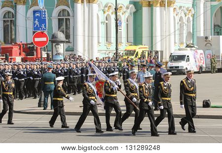 St. Petersburg, Russia - 9 May, Bearers group of officers in black uniforms, 9 May, 2016. Festive military parade on the Palace Square in St. Petersburg.
