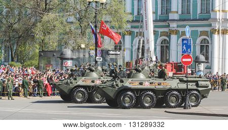 St. Petersburg, Russia - 9 May, Armored vehicles on the Victory Day, 9 May, 2016. Festive military parade on the Palace Square in St. Petersburg.