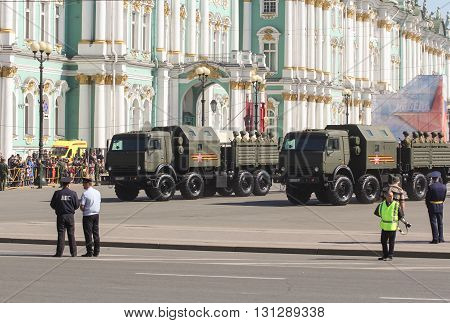 St. Petersburg, Russia - 9 May, Heavy military vehicles on the Victory Parade, 9 May, 2016. Festive military parade on the Palace Square in St. Petersburg.