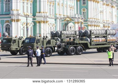 St. Petersburg, Russia - 9 May, Military rocket launchers strategic near the Winter Palace, 9 May, 2016. Festive military parade on the Palace Square in St. Petersburg.
