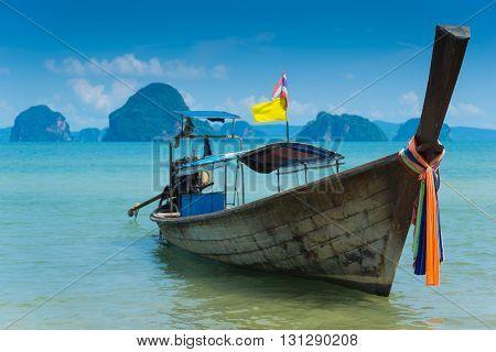 Long tail boat and Andaman Sea, Krabi Province