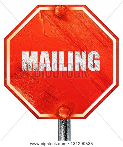 mailing, 3D rendering, a red stop sign