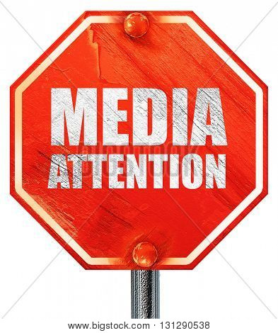 media attention, 3D rendering, a red stop sign