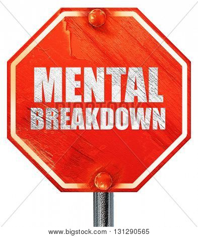 mental breakdown, 3D rendering, a red stop sign