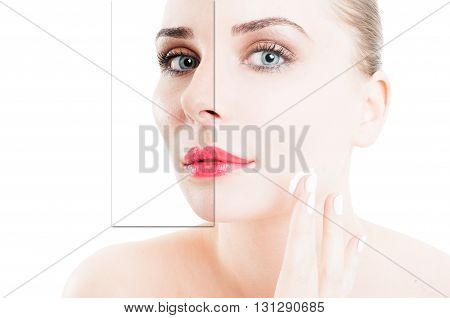 Closeup Portrait Of Woman Using Cream For Correction Of Wrinkles