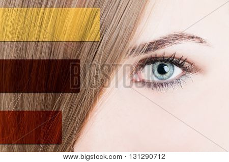 Close-up Of Woman Eye With Perfect Skin And Straight Hair