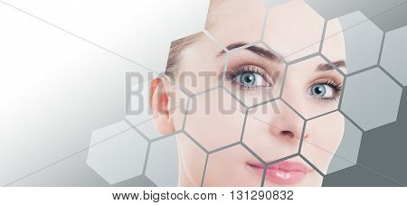 Close-up Of Woman Perfect Face With Beauty Correction And Makeup