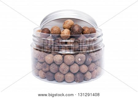Allspice Dry Seeds In Transparent Plastic Jar