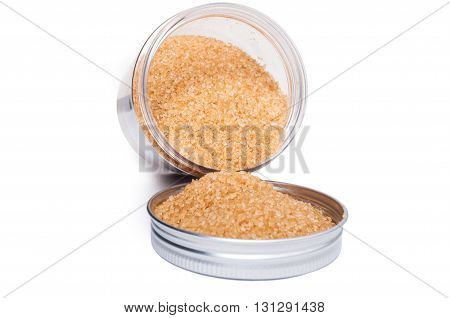 Natural And Healthy Unrefined Brown Sugar In Plastic Storage Container