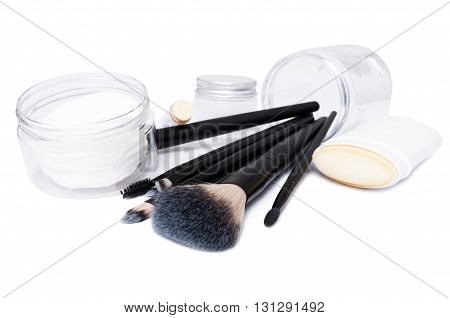 Cosmetic Concept With Face Brushes, Stick Deodorant And Lip Moisturizer