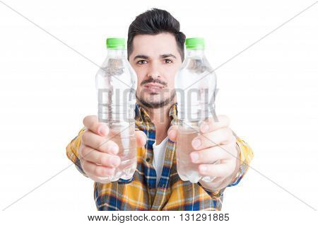 Hydration And Healthy Lifestyle Concept With Two Bottles Of Water