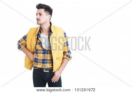Portrait Of Attractive Stylish Man Looking One Side