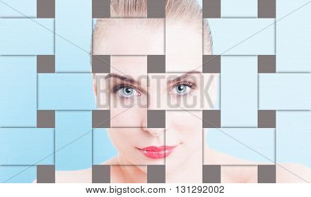 Closeup collage with beautiful woman flawless portrait and makeup as skin perfection concept against blue or turquoise background