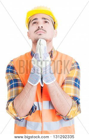 Attractive Constructor In Workwear And Helmet Hoping For The Best