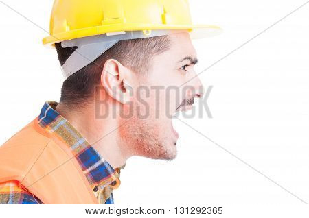 Close-up Engineer Portrait Shouting Out Loud And Showing Rage
