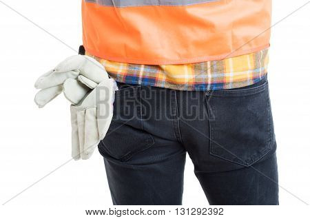 Closeup Of Young Constructor Back Posing In Uniform Or Equipment