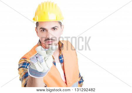 Confident Engineer Making Looking At You Gesture