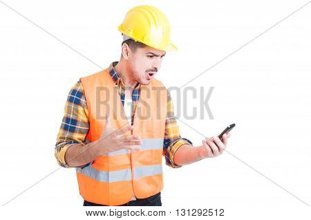 Furious Young Constructor Yelling And Showing Rage
