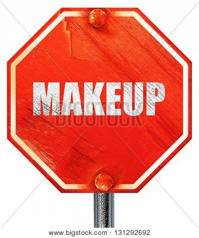 makeup, 3D rendering, a red stop sign