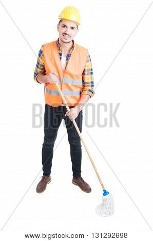 Young Constructor With Mop Being Ready To Clean The Floor