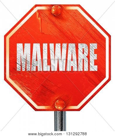 Malware computer background, 3D rendering, a red stop sign