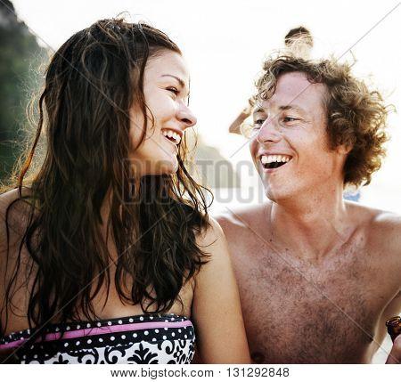 Beach Love Bonding Cheerful Happiness Travel Concept