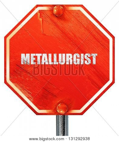 metallurgist, 3D rendering, a red stop sign