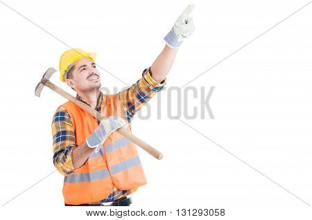 Portrait Of Happy Engineer Pointing Up And Holding Shovel