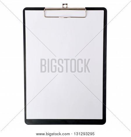 Black with blank papers Clipboard over isolated white background