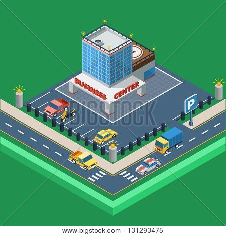 Business Center Concept.Business Center Building. Car Parking Design. Business Center Isometric Illustration. Business Center Vector.