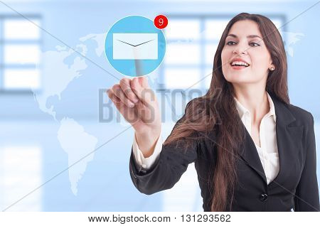 Business Woman Pressing Email Envelope Futuristic Button On Transparent Screen