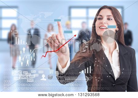 Digital Futuristic Concept With Business Woman Pressing On Transparent Display