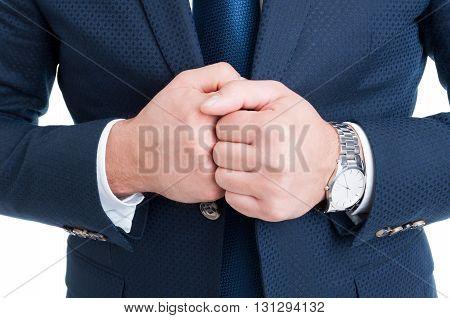 Closeup With Businessman Hands Closing Elegant Suit Jacket