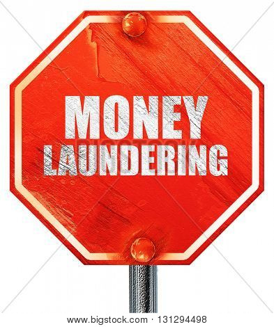 money laundering, 3D rendering, a red stop sign