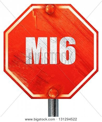 mi6 secret service, 3D rendering, a red stop sign