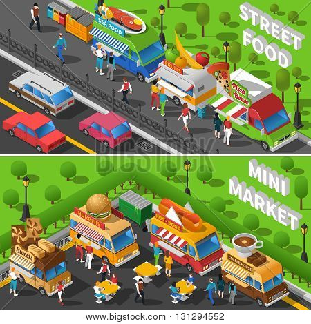 Street Food Isometric Concept. Food Car Horizontal Banners Set. Street Food Cart Vector Illustration. Street Food Truck Symbols. Street Food Truck Design Set.  Street Food Van Elements Collection.