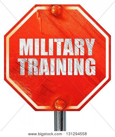 military training, 3D rendering, a red stop sign