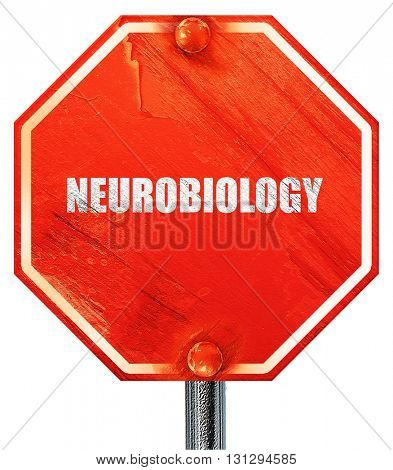 neurobiology, 3D rendering, a red stop sign